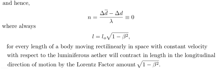 Lorentz-FitzGerald length contraction proof
