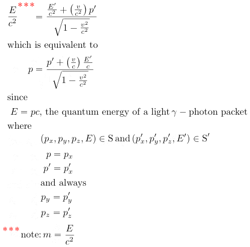 energy-momentum equivalence vector