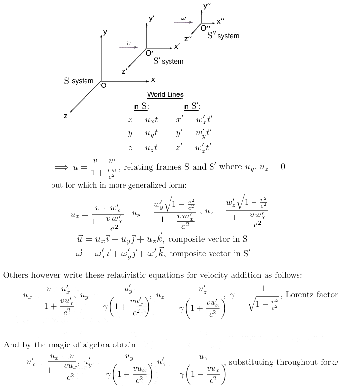 relativistic transformation equations