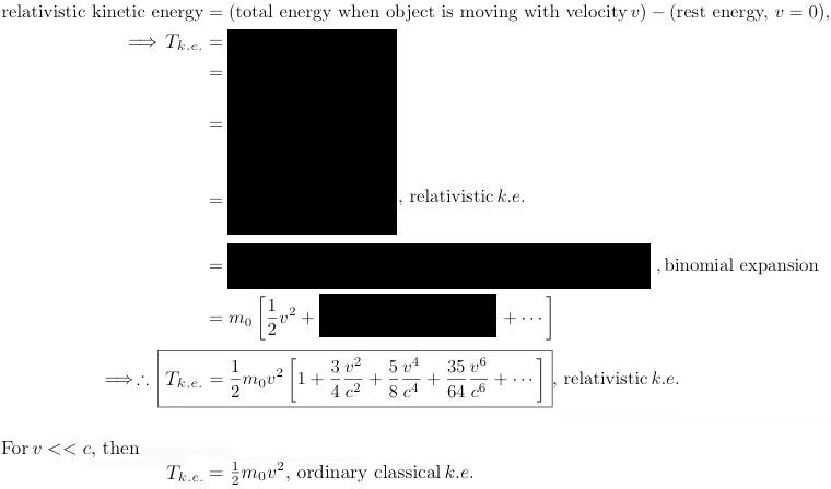 relativistic k.e.