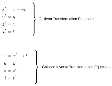 Galilean Transformation Equations