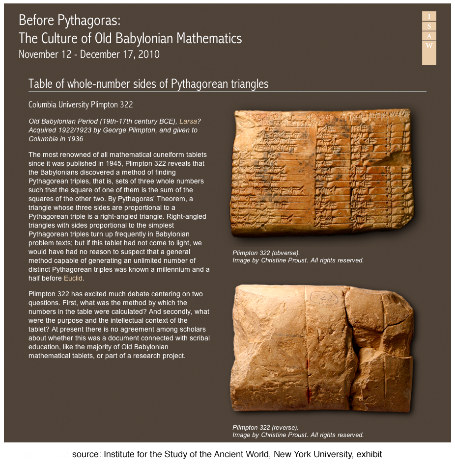 Before Pythagoras: The Culture of Old Babylonian Mathematics, Institute for the Study of the Ancient World, New York University