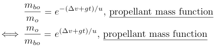 derivation rocket equation for propellant mass function
