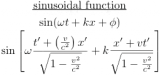 relativistic sinusoidal wave function