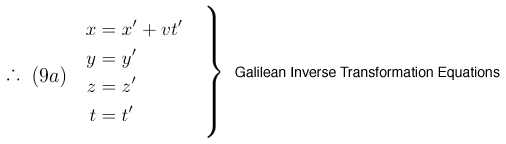 Galilean Inverse Transformation Equations
