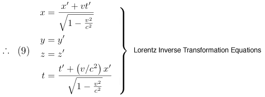Lorentz Inverse Transformation Equations