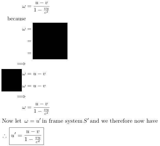 inverse addition of velocities