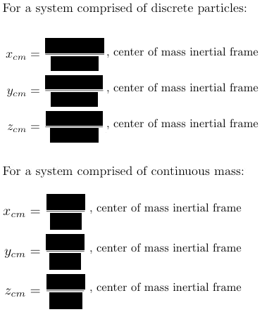 inertial frame center of mass