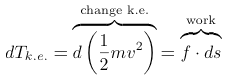 differential calculus kinetic energy change k.e.