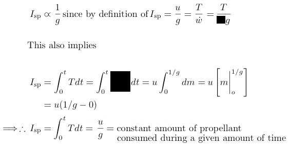 integral calculus derivation specific impulse