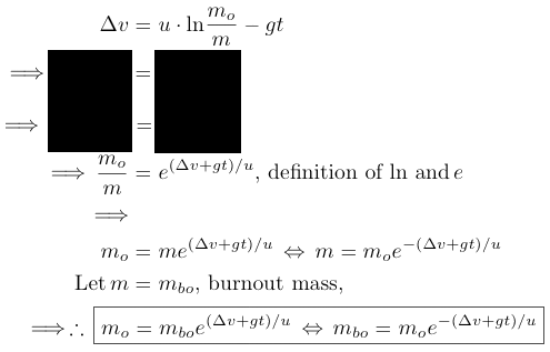 derivation rocket equation for burnout mass