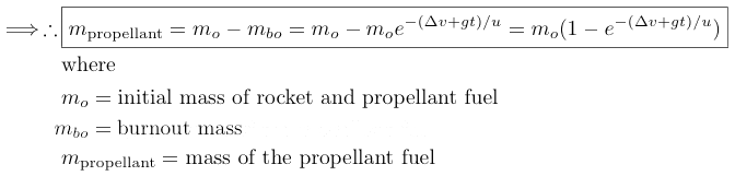 derivation rocket equation for mass of propellant fuel
