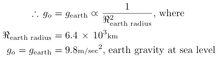 earth's gravity acceleration at sea level