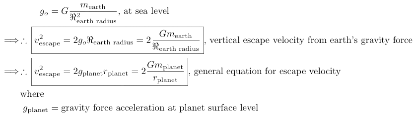 Kepler's escape velocity equation