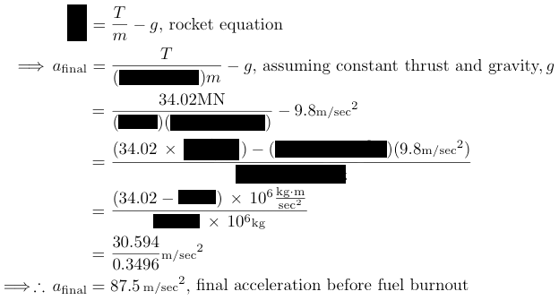 final rocket acceleration