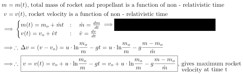 non - relativisticmass of rocket and propellant function of time