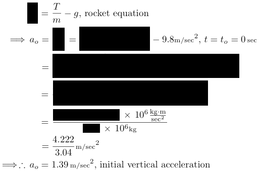 initial rocket acceleration