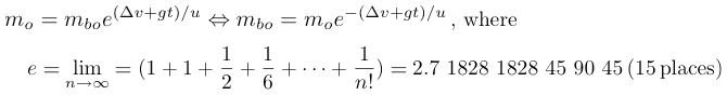 rocket equation logarithm derivation