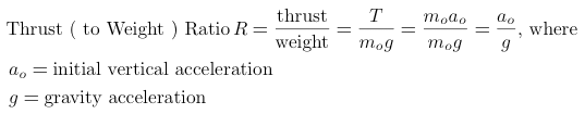 thrust ( to weight ) ratio