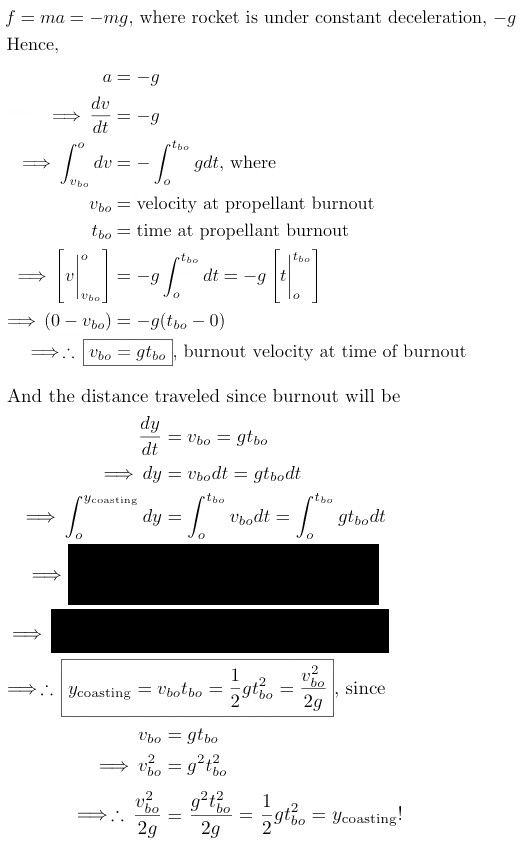 parabolic vertical rocket coasting equation