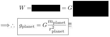 planet surface acceleration